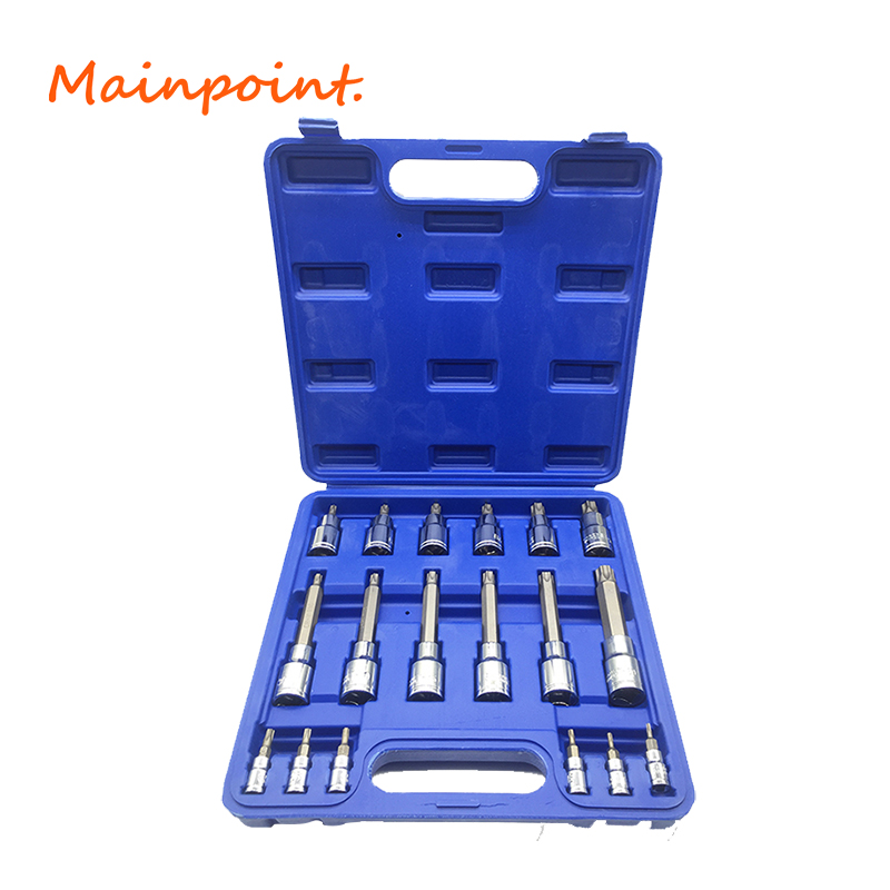 18Pcs Tamper Proof Torx Star Bits Socket Nuts Set High Quality 1/4 1/2 Drive T8-T60 For Auto/Car Repair Home Use Hand Tool Set mainpoint 1 4 1 2 3 8 e socket sockets set cr v torx star bit combination drive socket nuts set for auto car repair hand tool