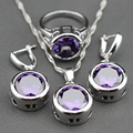 2015 New 925 Sterling Silver Amethyst Crystal Jewelry Set Earrings/Pendant/Necklace Chain/Ring For Women Free Jewelry Box TZ120