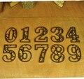 3 unids/lote Casa Decoración De Hierro Fundido de Alta Resistencia de Metal Números de Casa Casa Dirección Números Signos Antique Acabado de Color Marrón