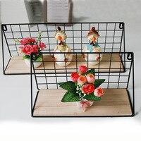Wall Decorations Storage Organizer Wood Metal Shelf Basket Sundries Storage Holder Wall Hanging Wooden Iron Cabinet