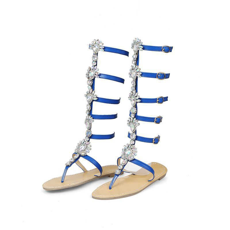 ad1427aa ... NAN JIU zapatos de montaña mujer doblada cadena de oro strass estilo  romano mujer Sandalias planas ...