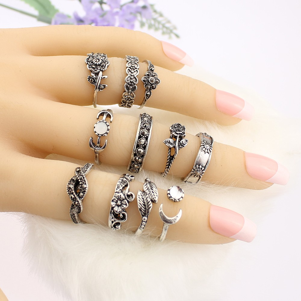 HTB1Ejr5OFXXXXasaXXXq6xXFXXXA 11-Pieces Boho Chic Spirituality Silver Plated Antique Stackable Ring Set - 9 Sets