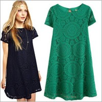 European American Style Women Summer Dress Vintage Embroidery Hollow Out Lace Flower Sexy Plus Size Dresses