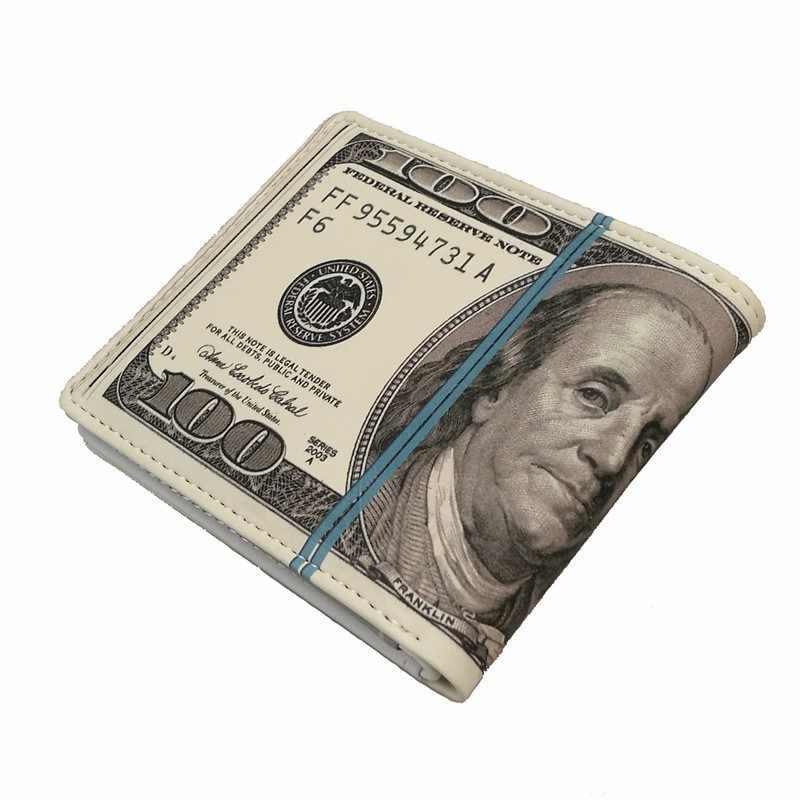 Cute bifold 100 US dollar money purse new design novelty funny gift boy young male men wallet women coin case pouch PU leather