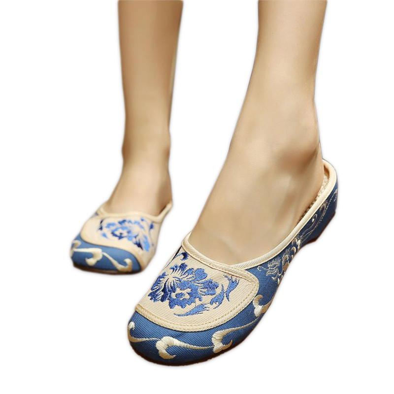 Hot sale vintage Sexy slippers women Chinese embroidery shoes casual indoor women flower flip flops floral butterfly mules
