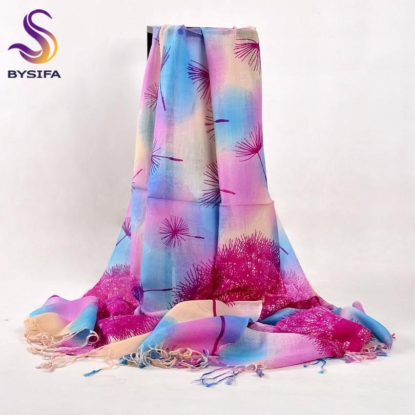 [BYSIFA] Dandelion Blue Pink Wool Scarves Shawl Women Fashion Elegant Autumn Winter Long Tassel Wool Cashmere Scarf Pashimina