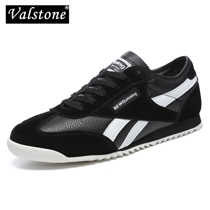 Valstone Men's Leather Sneaker Unisex Summer Autumn Trainers Breathable Outdoor Shoes Antiskid Cement Boat Shoes Rubber Outsole