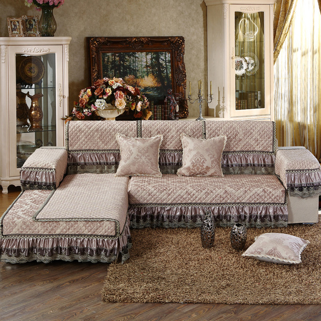 Sectional Couch Covers Brown/Beige Chenille Fabric 3D Embroidered Quilted  Sofa Cover Set Modern Sofa