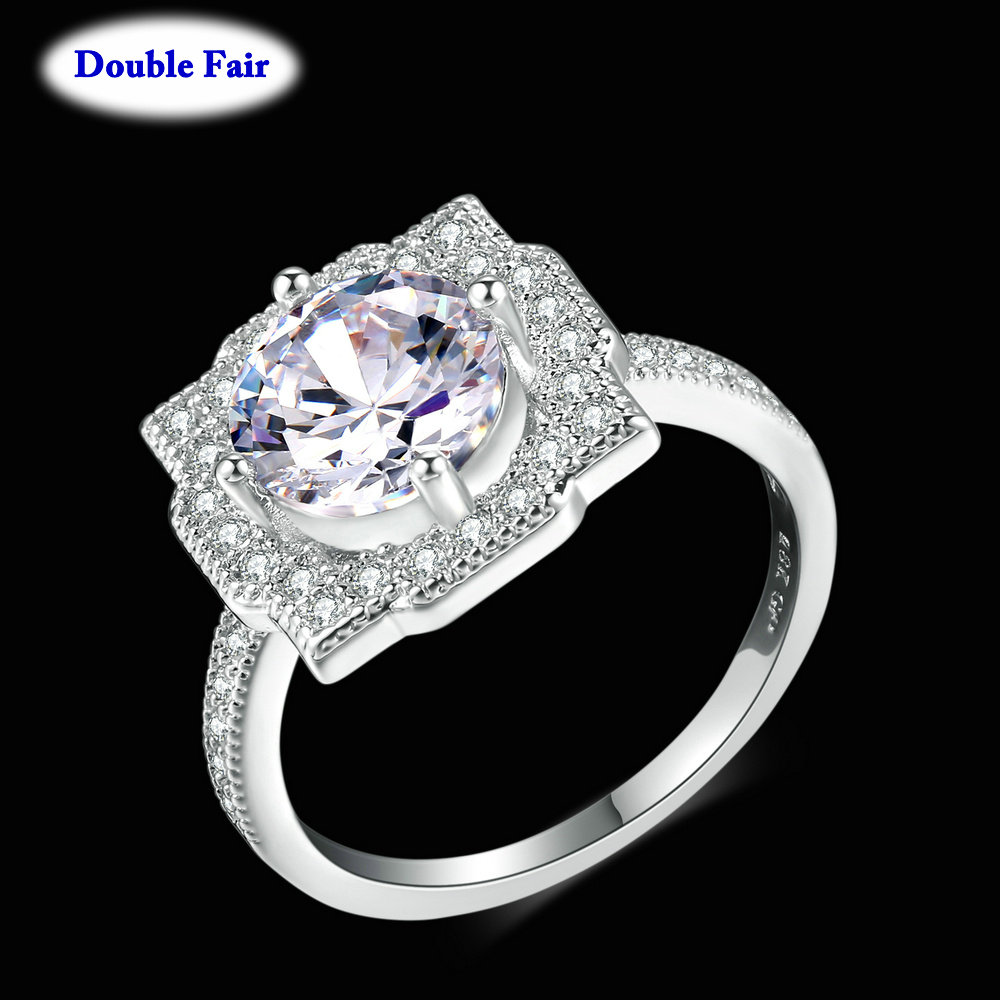 Top Quality 8mm Round Cubic Zirconia Crystal Ring Silver