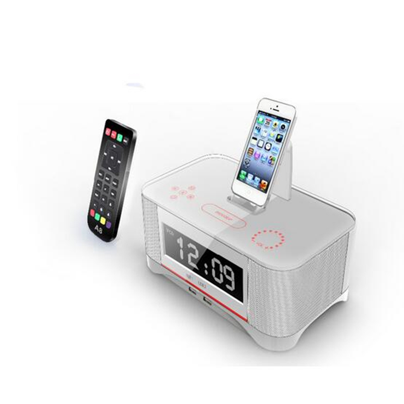 A8 Touch Radio Clock Speaker Remote Control for IOS Apple iphone7 5s 6 6s 7plus Bluetooth and NFC for Samsung android Speaker