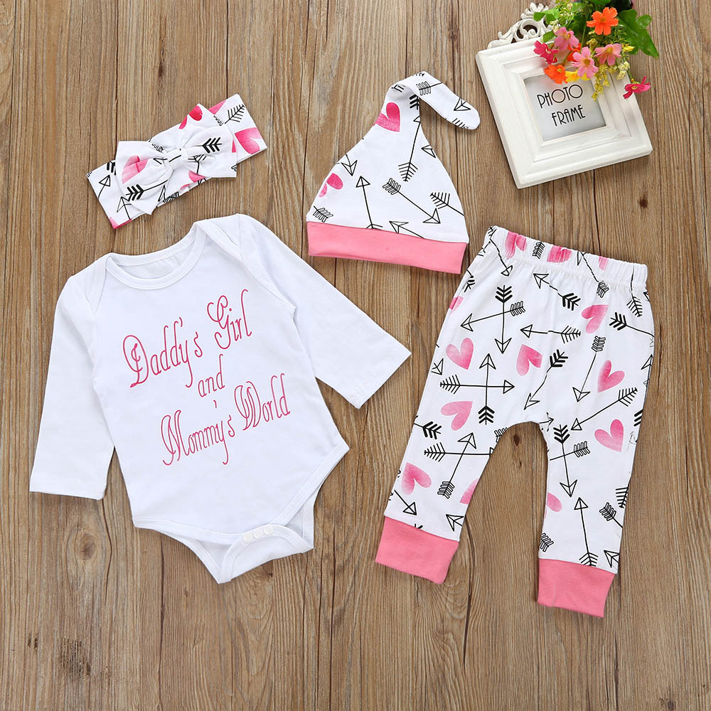 MUQGEW 2018 Infant Letter print Baby Girl Clothes Romper Top+Pants+Hat Outfits Clothes Set Cheap Newborn Clothing QZ06 letter print knot front top
