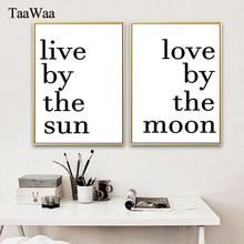 live by the sun love by the moon Minimalist Quotes Poster and Print Nordic Wall Art Picture Motivational Painting for Room Decor лонгслив printio love by the moon live by the sun