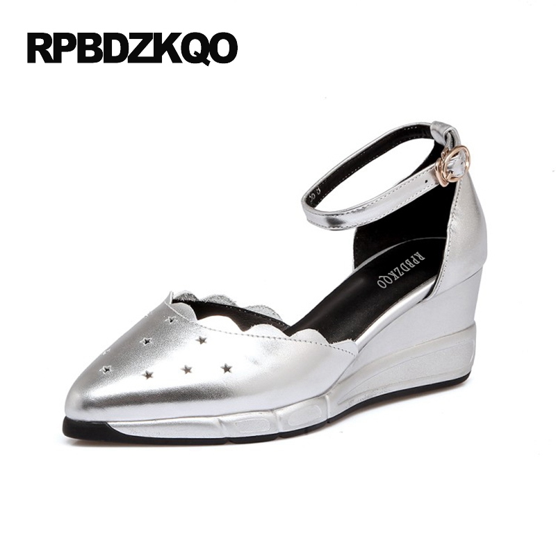 Medium Ankle Strap Size 4 34 2017 Ladies Pointed Toe Pumps White Korean Cool Shoes High Heels Fashion Wedge Silver Sandals цена