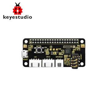 keyestudio 5V ReSpeaker 2-Mic Pi HAT V1.0 Expansion Board For Raspberry Pi 4B/ Zero / Zero W/B+/3b+/3b element14 pi face digital i o expansion board for raspberry pi green