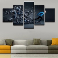 Canvas Wall Art Pictures Home Decor Living Room Poster 5 Pieces HD Printed Abstract Soccer Sports