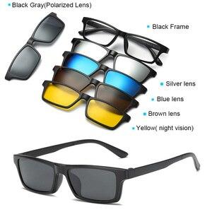 Image 3 - 5 en 1 lunettes de soleil hommes pince magnétique sur lentille lunettes polarisées conduite pêche pour myopie lunettes cadre