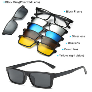 Image 3 - 5 in 1 occhiali da sole da uomo Clip magnetica su occhiali da vista polarizzati guida pesca per miopia montatura per occhiali
