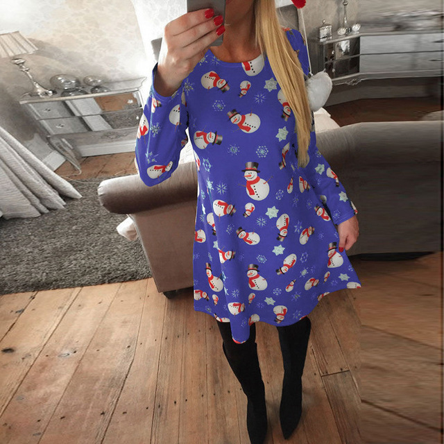 New Christmas Print Dress For Women Casual Long Sleeve 2