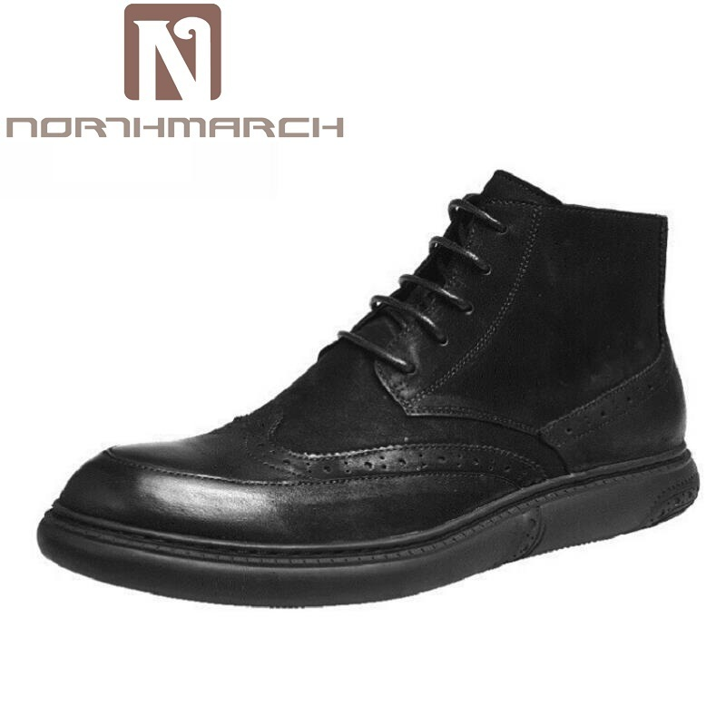 все цены на NORTHMARCH Men Boots Men Leather Martin Boots High Top Lace Up Breathable Fashion Men Shoes Wedding Brogue Formal Dress Shoes
