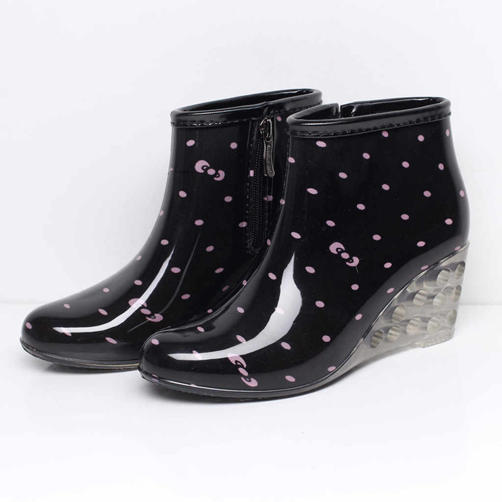 Avrupa bahçesinde kadın yağmur çizmeleri takozlar kısa tüp yağmur çizmeleri kaymaz su geçirmez su ayakkabısı 30 Dropshipping
