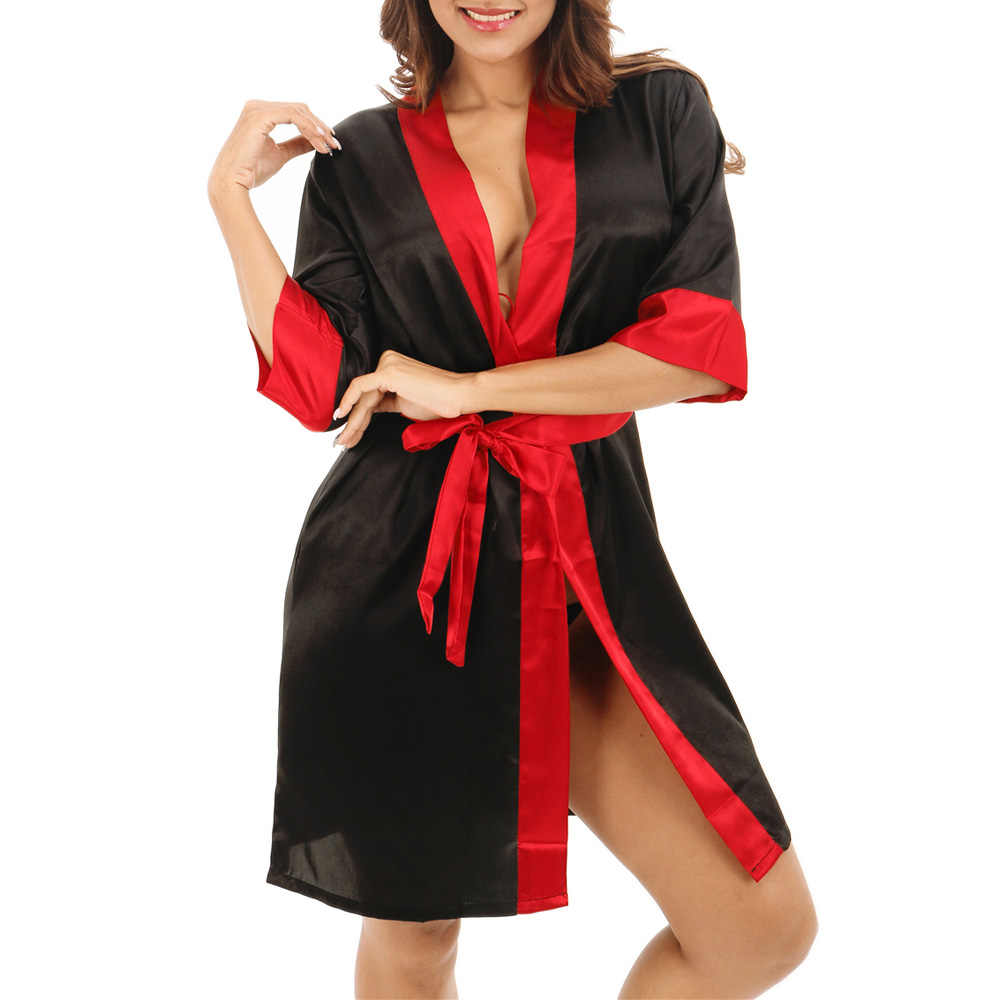 Sexy Women Ladies Satin Silk Kimono Bathrobe Nightgown Bridal Robes  Lingerie Pajamas Sleepwear lounge Nightwear Christmas e30abd20e358