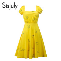 Sisjuly Vintage Women Dress Summer Patchwork Polka Solid Print Yellow 1950s Dresses Elegant Cute New 2017