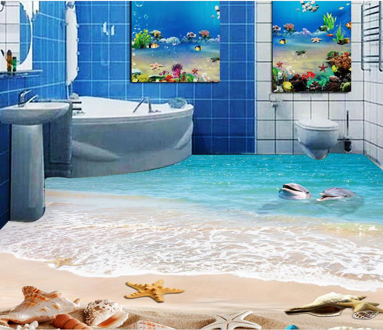 wallpaper 3d mural waterproof 3d flooring vinyl wallpaper dolphin beach shell kitchen wallpaper. Black Bedroom Furniture Sets. Home Design Ideas