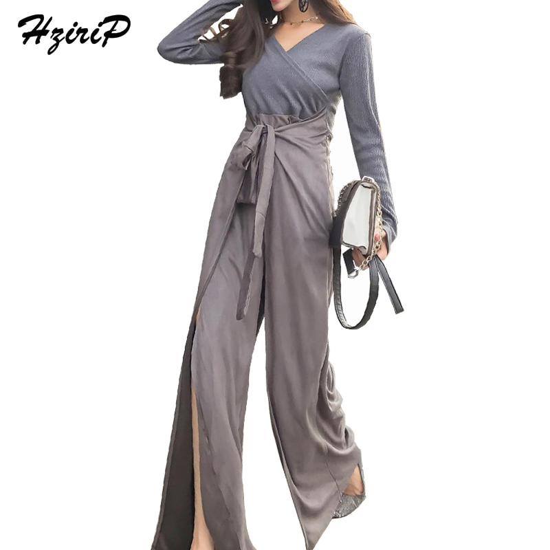 HziriP Loose Sexy Bodysuit Women 2017 Autumn Vintage V-Neck Knitted Tops&Suede Opening Wide Leg Pants Combinaison Body Femme New