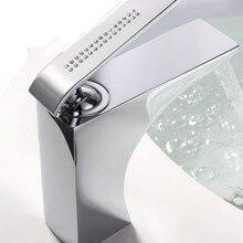 Цвет хрома квадратная ванная раковина сосуд кран смеситель на бортике Хрустальные Ручки