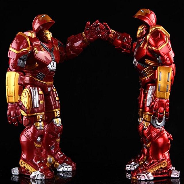 נוקמי 2 ברזל איש Hulkbuster שריון מפרקי מטלטלין 18 CM סימן עם LED אור PVC פעולה איור אוסף דגם צעצוע # E