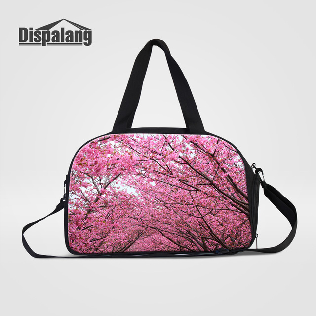 Dispalang Portable Women s Totes Travel Bags Flower Cherry Blossoms Ladies Hand  Luggage Duffle Bags Canvas Weekend Overnight Bag 16243bed4ce7d