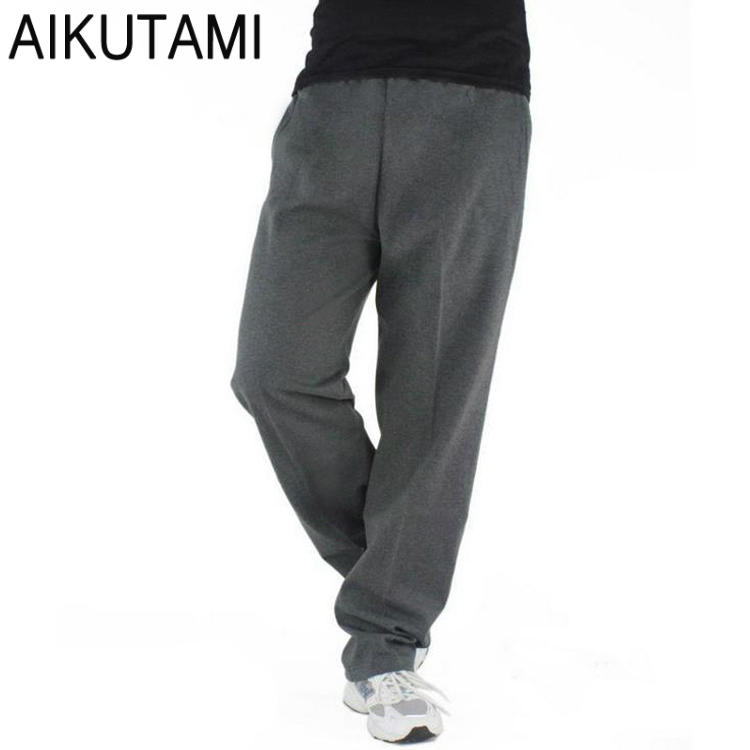 Solid Men Running Pants Cotton Mallas Loose Breathable Sweat Pants Big Size Sports Training Basketball Jogger Pants Plus Size