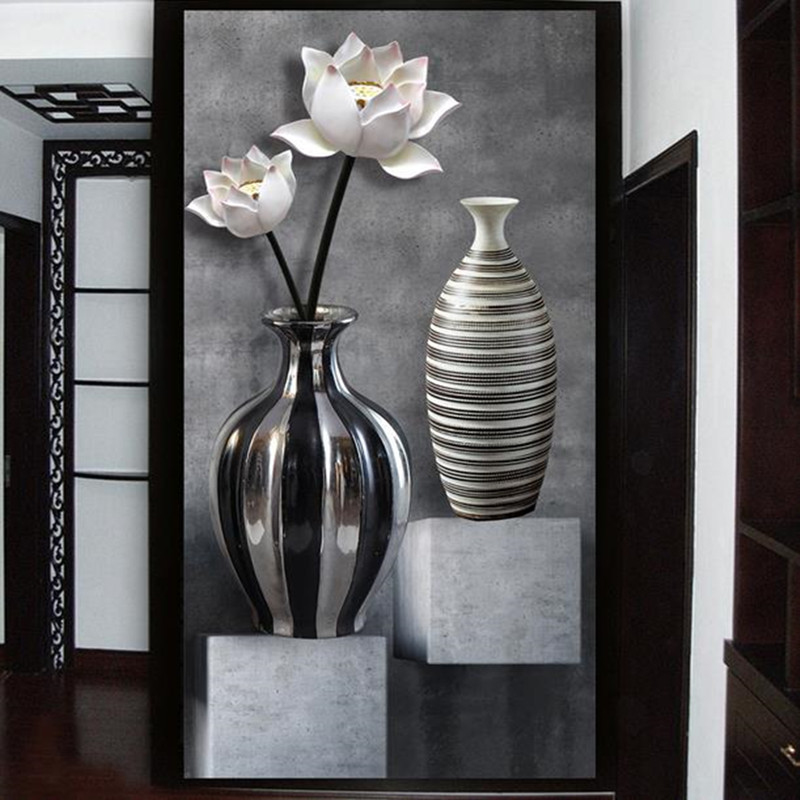 Custom HD 3D Stereo Wallpaper Lotus Black White Vase Wall Mural Painting Living Room Bedroom Door Decoration Mural Sticker book knowledge power channel creative 3d large mural wallpaper 3d bedroom living room tv backdrop painting wallpaper