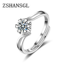 Simple white gold Wedding Ring For Lovers Crystal CZ Couple Rings Men Women Engagement Wedding Rings Anillos Bague(China)