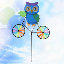3D Animal Cartoon Owl on Bike Windmill Pinwheel Whirligig Kids Toys Spinner Garden Lawn Yard Decoration(China)