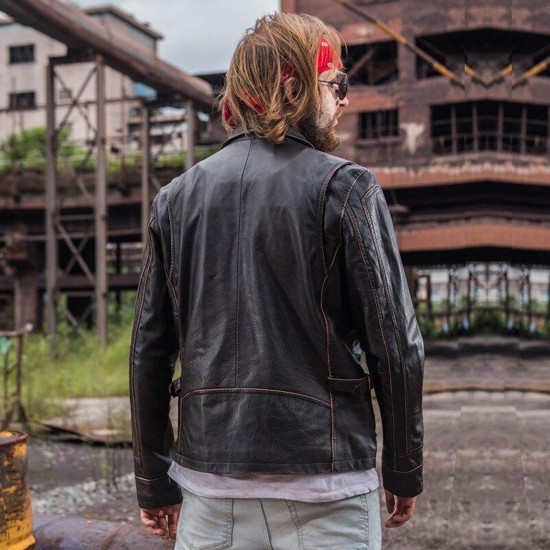 Épaisse Rétro Véritable Vintage xxxl De Noir Shenghua marron Veste Mode En Vestes Hommes Manteaux Cuir Moto Brun Vachette D'hiver M F5IqO