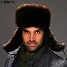 2017 mink hat vintage fashion genuine leather straw hat male lei feng cap winter mink hair