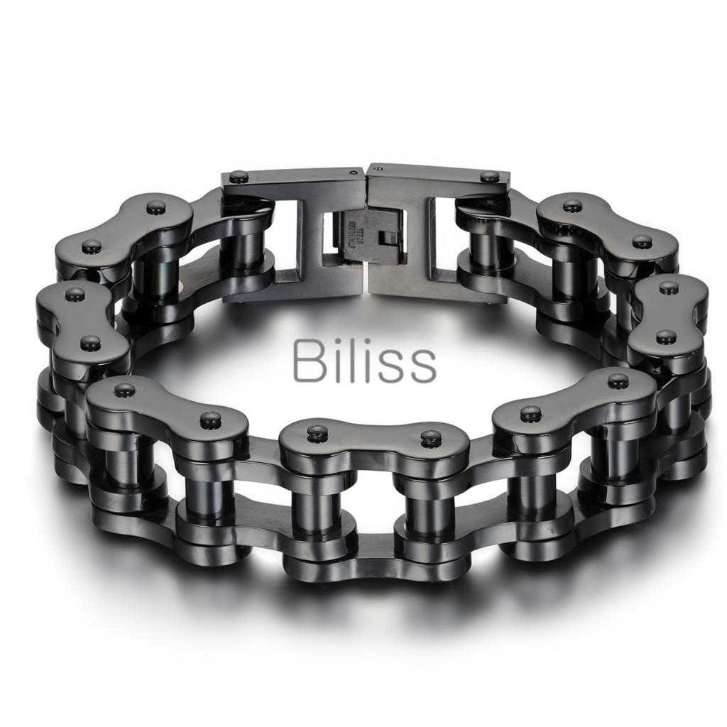 23cm*18mm Black/Silver Heavy Wide Stainless Steel Bracelet Men Biker Bicycle Motorcycle Chain Men's Bracelets Mens Bangles