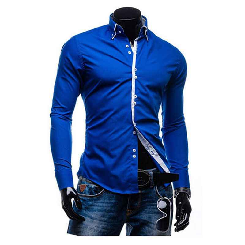 XXXL 2015 Cotton Dark Blue Long Sleeve Dress Shirts Men New ...