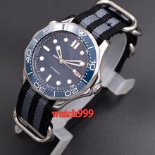 Мужские стерильные часы BLIGER, 41 мм, светящийся керамический Безель, Твердый чехол 316L, сапфировый кристалл, нейлоновый ремешок, автоматические мужские часы