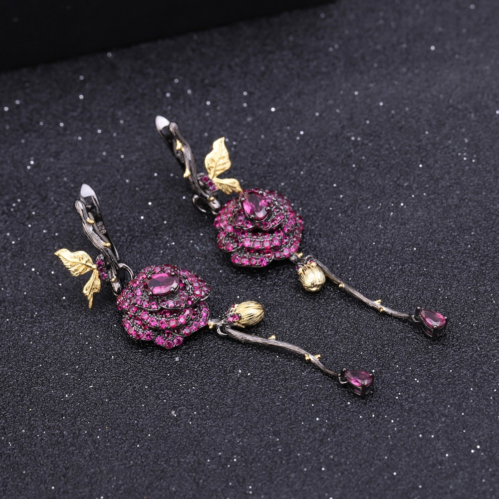 Image 3 - GEMS BALLET Natural Rhodolite Garnet Handmade Rose Flower  Jewelry Set 925 Sterling Silver Ring Earrings Jewelry Sets For  WomenJewelry Sets