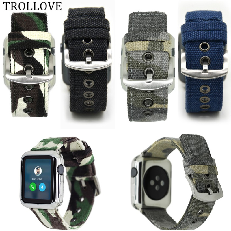 Camouflage Woven Nylon Sport Band for Apple Watch Series 3 2 1 42MM 38MM watchband Sport bracelet belt fabric-like Accessories mu sen woven nylon band strap for apple watch band 42mm 38 mm sport fabric nylon bracelet watchband for iwatch 3 2 1 black