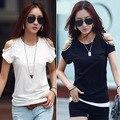 Мода новые 2016 sppring летом топы для женщин бисероплетение футболка без бретелек тройники короткий рукав футболки W326