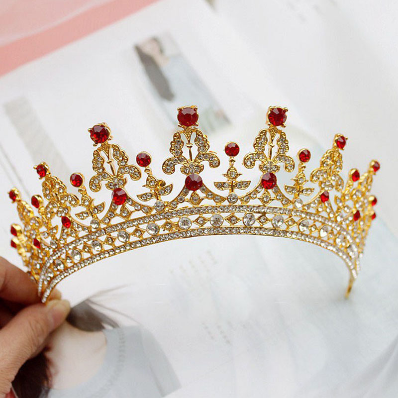Elegant Over Size Bridal Tiaras Crown with Red Rhinestone Gold Royal Headbands Wedding Hair Accessories