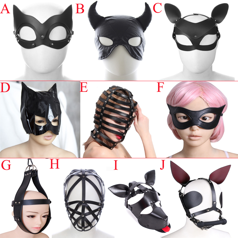 Pink Padded Leather Head gear Restraint Heavy Duty Mask Blindfold Hood Roleplay