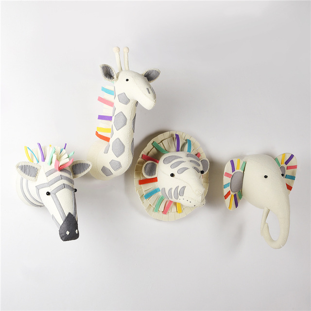 Animaux nordiques éléphant tête de tigre montage mural en peluche jouets en peluche décoration de chambre en feutre œuvre murale poupées accessoires Photo