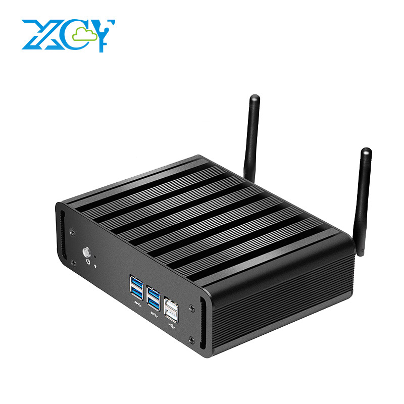 XCY Fanless Mini PC Windows 10 Intel Core i7 4610Y i5 4210Y Barebones Mini Desktop PC HDMI VGA WiFi Thin Client TV BOX THPC лежанка для животных добаз цвет светло розовый серый 65 х 65 х 20 см