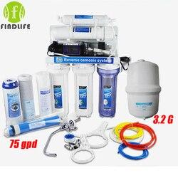 1 ميكرون PPF + غاك + كتو + رو + T33/(الولايات المتحدة الأمريكية غي 75GPD رو) آلة تصفية المياه لمدة 5 المرحلة التناضح العكسي منقي مياه