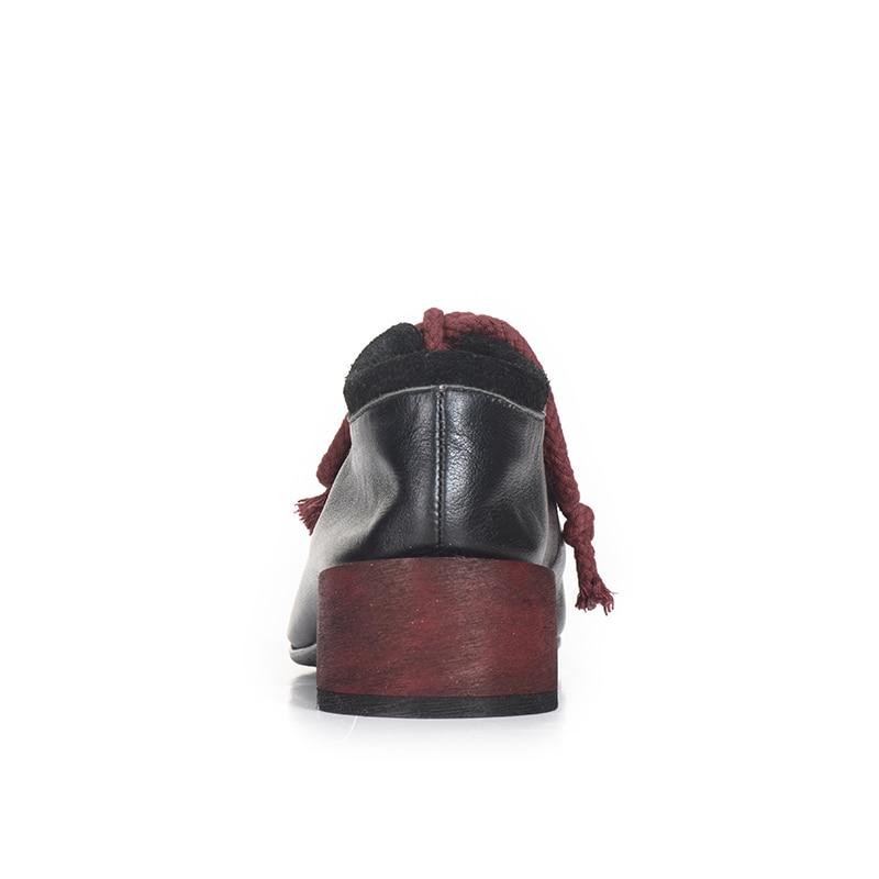 Ronde Mode Bouche Chaussures Automne Talon Printemps Femmes 2019 Profonde Vache Pompes Xiangban De Noir En Cuir Épais Tête Peau F7x1Wn4dq