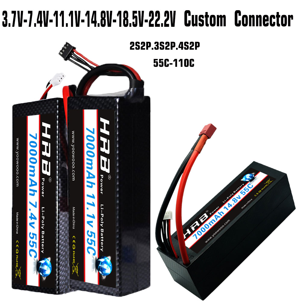 HRB RC батарея Lipo 7,4 V 11,1 V 14,8 V 7000mah 55C Max 110C 2S2P 3S2P 4S2P Жесткий Чехол для Traxxas RC 1/10 Car Truck Monster